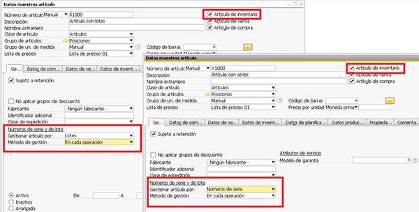 Datos maestros de un artículo en SAP Business One