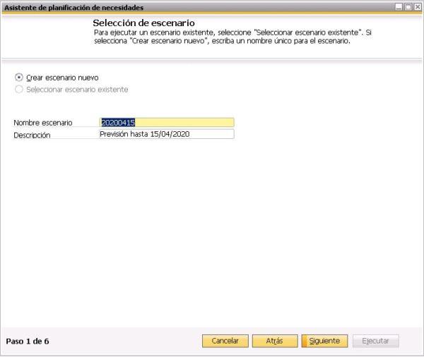Primer paso del asistente del planificador de necesidades de SAP Business One