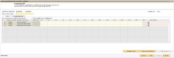 Sexto paso del asistente del planificador de necesidades de SAP Business One