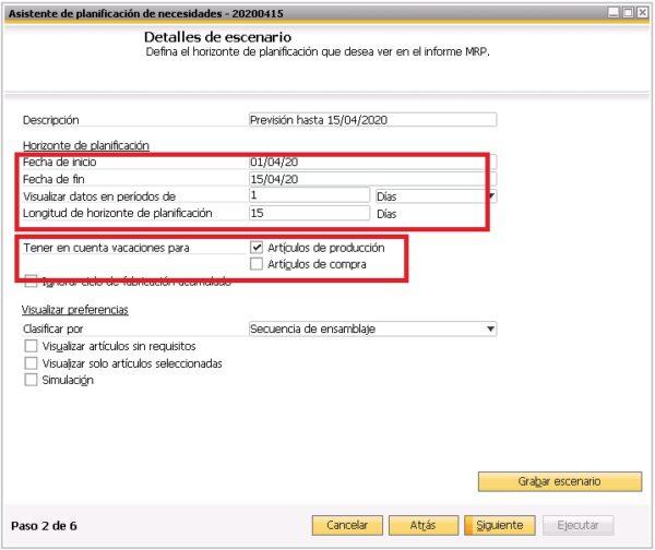 Segundo paso del asistente del planificador de necesidades de SAP Business One