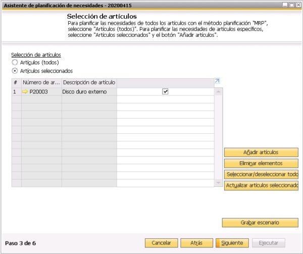 Tercer paso del asistente del planificador de necesidades de SAP Business One