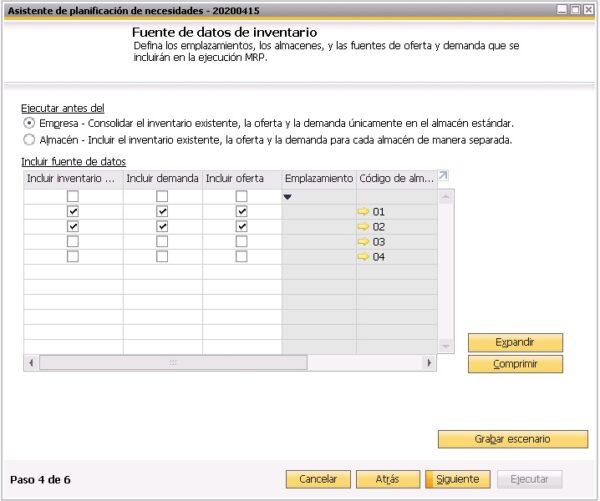 Cuarto paso del asistente del planificador de necesidades de SAP Business One