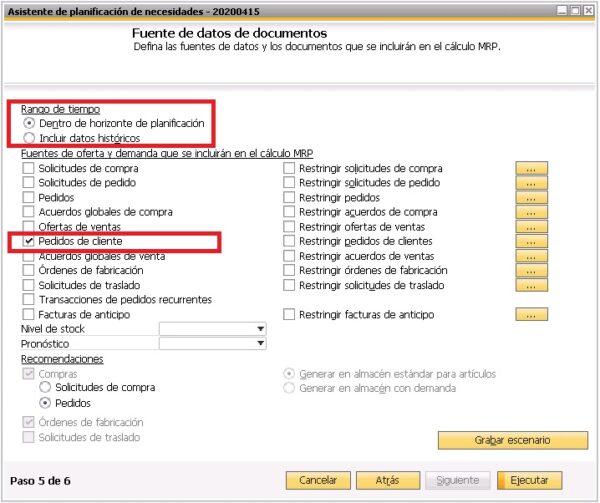 Quinto paso del asistente del planificador de necesidades de SAP Business One