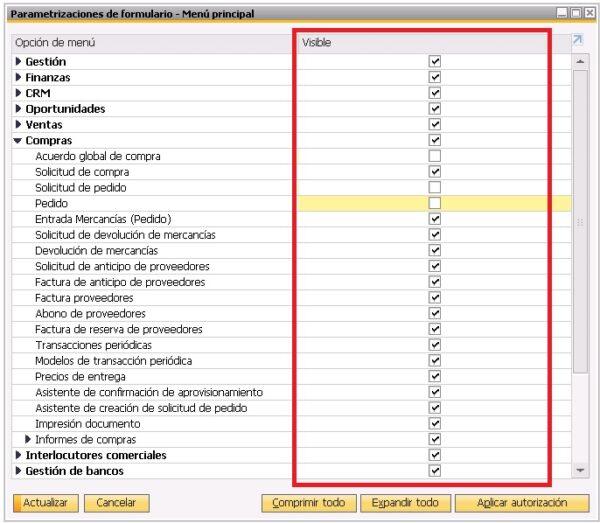 Organización del menú principal en parametrizaciones de formulario en SAP Business One