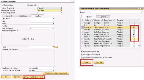 Copiar las parametrizaciones de formulario