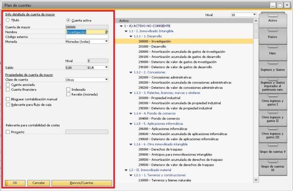 Detalle de los datos propios de la cuenta seleccionada en SAP Business One
