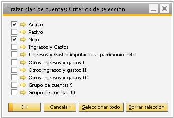 Detalle para seleccionar los grupos de cuentas en SAP Business One