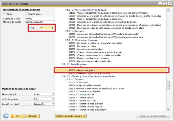 Buscar la cuenta dentro del plan de cuentas en SAP Business One