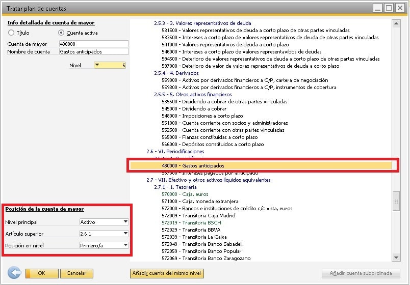 Cambiar el nivel de la cuenta en el plan de cuentas en SAP Business One
