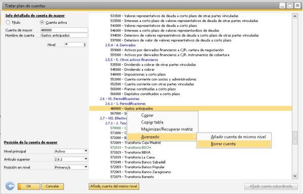 Detalle de como borrar una cuenta en SAP Business One