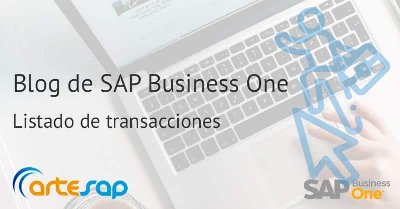 Listado de transacciones en SAP Business One