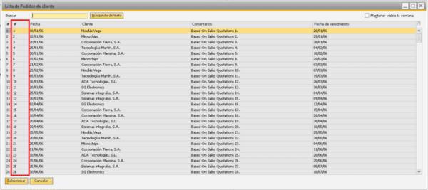 Resultado del listado de transacciones en SAP y el orden por el primer campo