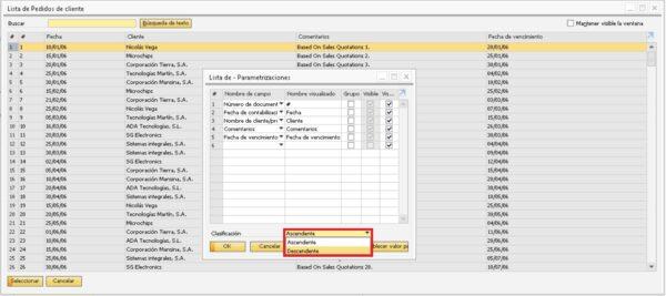 Detalle de la selección de ordenación ascendente o descendente del listado de transacciones en SAP Business One