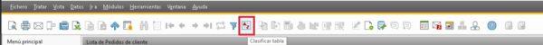 Detalle del botón clasificar en el menú de SAP Business One