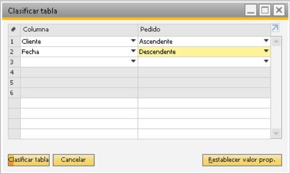 Pantalla para seleccionar la ordenación de los campos del listado de transacciones en SAP Business One