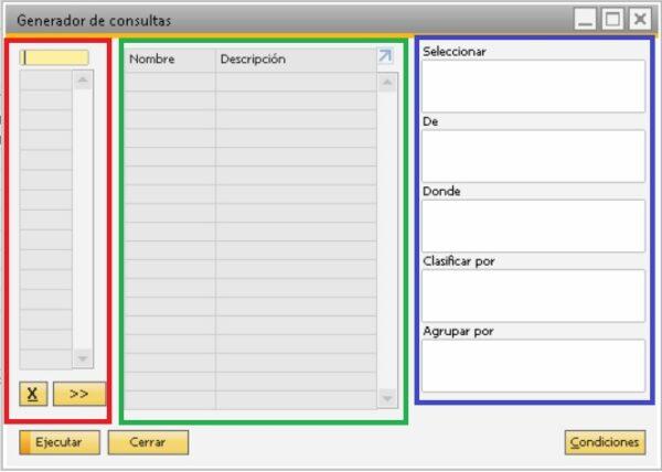 Pantalla del generador de consultas en SAP Business One