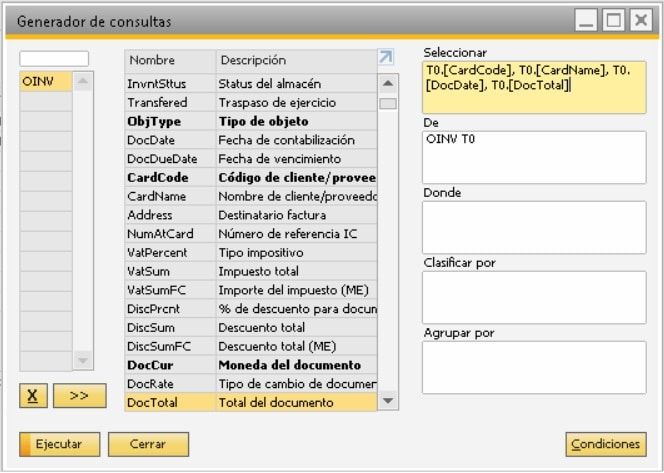 Detalle de la pantalla del generador de consultas en SAP Business One
