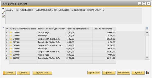Detalle del resultado de la consulta en el generador de consultas en SAP Business One