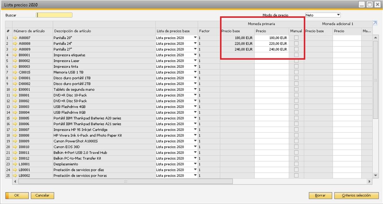 Campo para indicar el precio en la lista de precios en SAP Business One