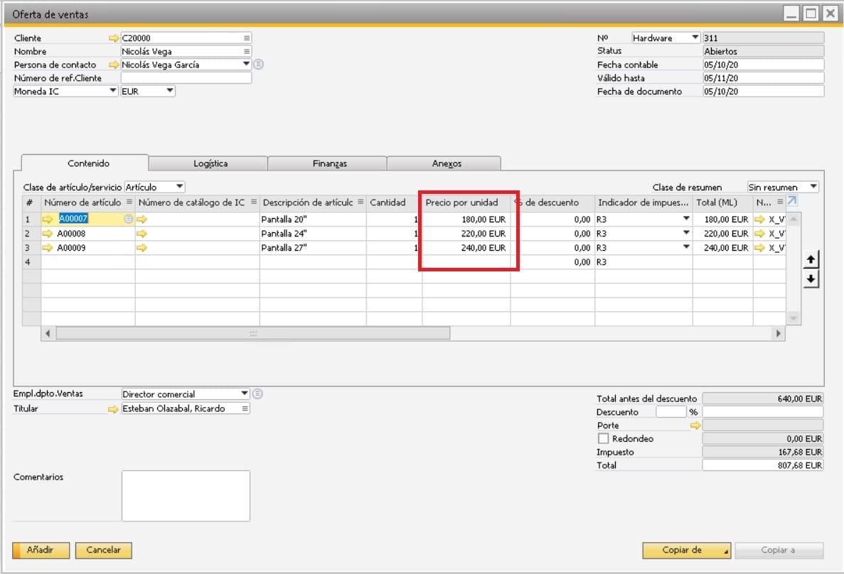 Resultado de los precios establecidos en la lista de precios en SAP Business One