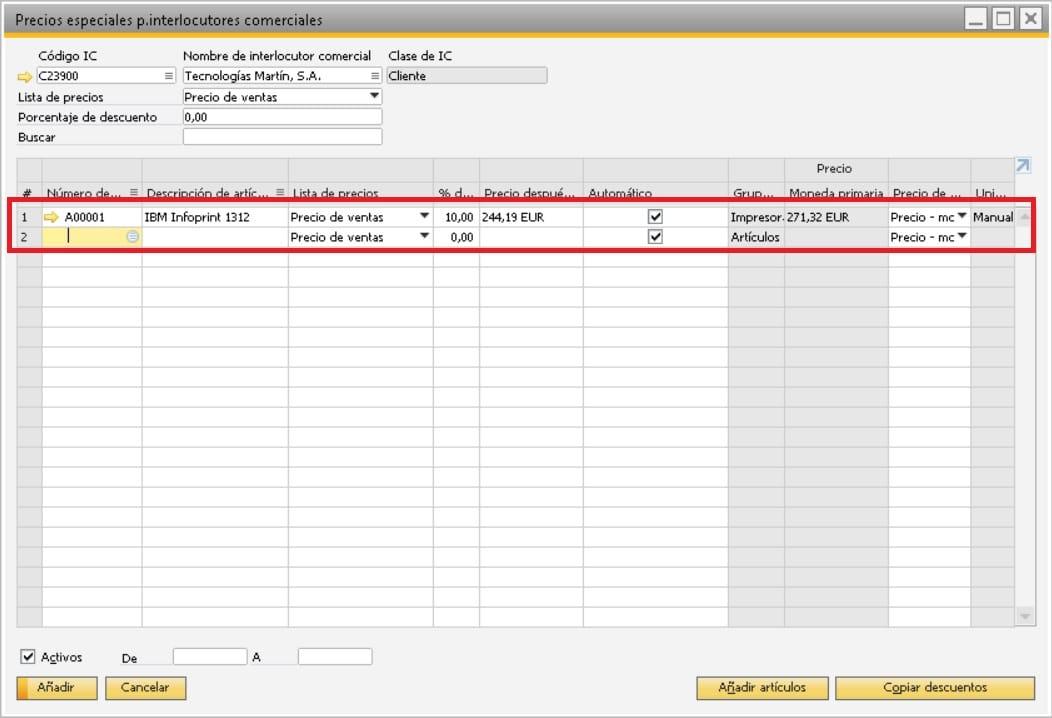 Selecciona el artículo al que aplicar los precios especiales en SAP Business One