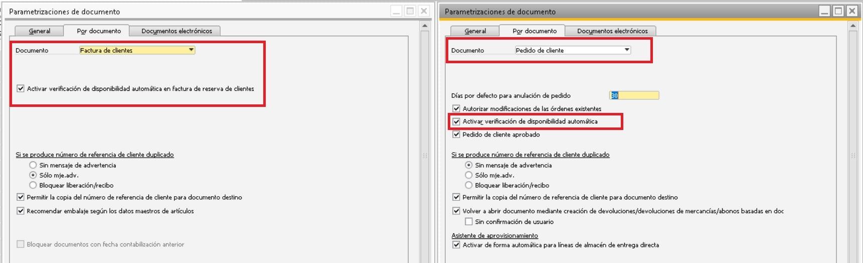 Activar la funcionalidad verificación de disponibilidad en SAP