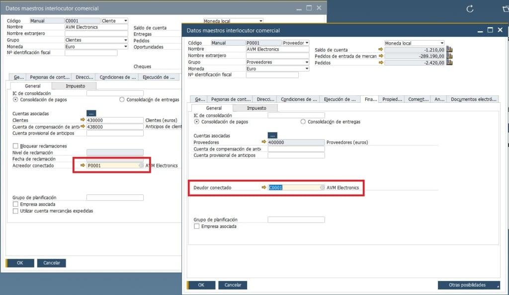 Fichas de cliente y proveedor para conectar interlocutores comerciales