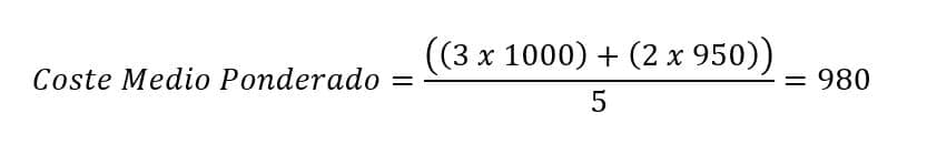 Fórmula del coste medio ponderado